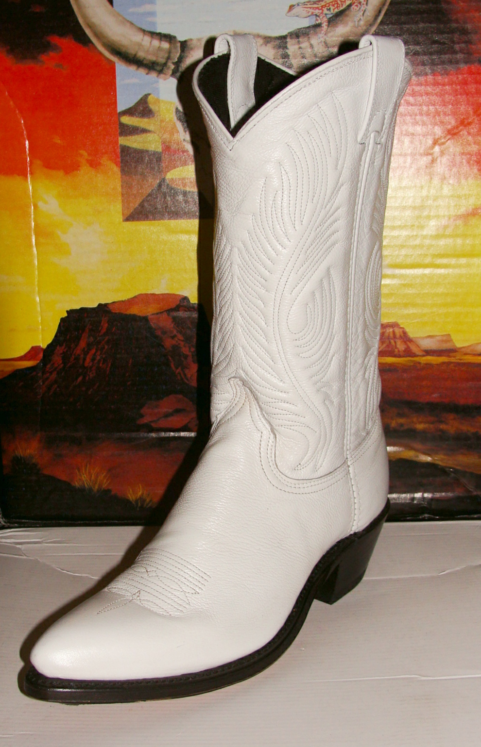 Womens White Leather Cowboy Boots USA Made