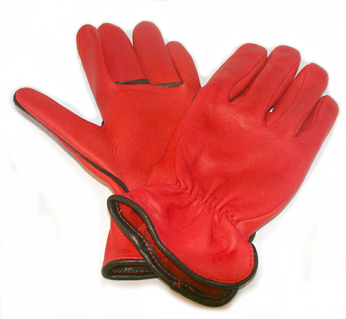 Ladies leather gloves large - 2 Tone Red Deerskin Leather Western Work Gloves Usa Made