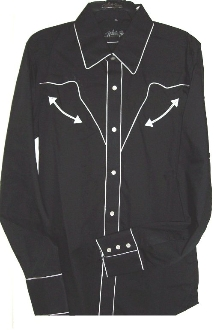 womens pearl snap retro white piped black western shirt