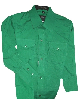 Child Pearl Snap Green Western Shirt