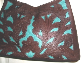 Leaders in Leather, Turquoise and brown leather western purse