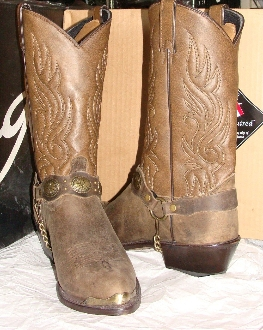 USA MADE Mens Brown Antique brass boot chain cowboy