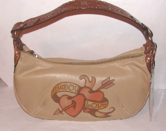 "This ""Cowboy Love"" Scully leather tattoo western hand bag is a perfect rocking cowgirl handbag made of soft lambskin leather adorning tattoo designs"