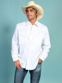 "This Men's ""Gunfighter Wedding"" White western shirt by Scully is a western favorite with the beautiful vintage smiley pockets and retro floral embroidered yoke complete with pearl snaps a great western wedding cowboy shirt for men."