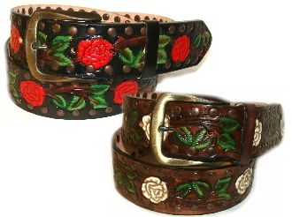 1 3 4 Quot Painted Rose Tooled Leather Western Belt
