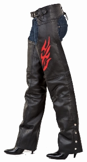 Unisex Black Leather Quot Red Flame Quot Western Chaps