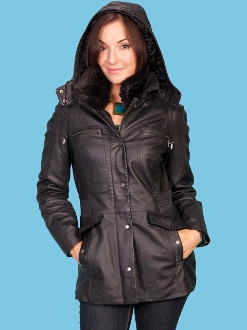 Fur lined Leather Womens Scully western coat, Womens Scully long western coat, Scully long western coat