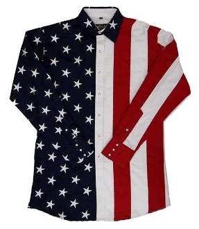 Mens Red White, Blue 100% Cotton Flag Western Shirt