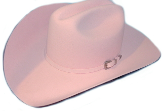 This is a RARE find theBailey 4X WOOL Pink Pageant cowboy hat made in the MADE with a silver buckle and wool hat band. Quality with style at The Wild Cowboy