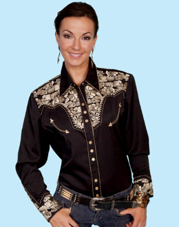 """golden lady gunfighter"" womens black western shirt by scully"