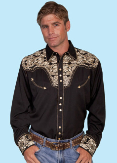 """Gold Gunfighter"" Black western mens shirt by Scully, scully mens shirt, mens scully western shirt, mens western shirt, cowboy shirt, western shirt for men, scully retro shirt, vintage shirt, retro shirt"