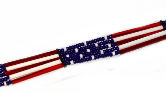 "Glass quill 5 strand ""USA Flag"" USA MADE hat band, usa flag hat band, flag cowboy hat band, cowboy hat bands, western hat bands, crystal hat bands, mens hat bands, mens cowboy hat bands, beaded hat bands,"