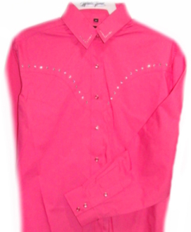 This Ladies Raspberry Pink rhinestone western shirt is a great way to sparkle in the parade or western horse show or even on the dance floor in the cowboy barn.