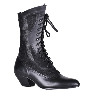 Womens size 6 Cathedral black leather and lace Granny boots