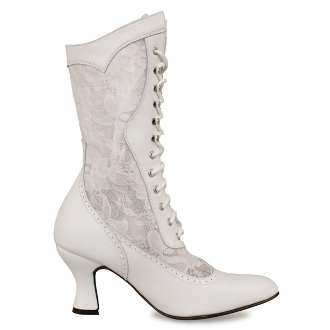 """Cathedral"" Women's White Leather Lace Up Frontier Wedding Boots"