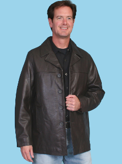 """Bently"" Mens Scully Black Leather Car Coat"