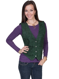 Womens Scully Green boar suede embroidered western vest