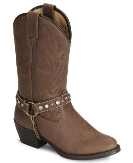 """Brown Charleston"" Studded chain Child cowboy boots"