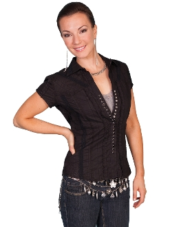 black western shirt. Ladies black short sleeve western shirt. Scully western shirt, ladies scully shirt, womens scully shirt