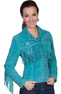 This Ladies Waist length Turquoise suede fringe western jacket by Scully has beads, studs, and conchos, this western jacket has style. Made from boar suede with fringe on the front, back and closes with a 5-button front