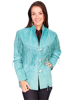 Scully Quot Frontier Quot Turquoise Boar Suede Womens Fringe Coat