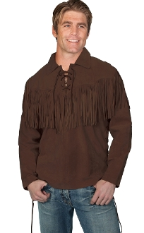 Daniel Boone shirt, Daniel boone shirt, leather western shirt, fringed leather shirts, western fringed shirts, leather mountain shirts, mountain man leather shirt, leather pull over shirt,daniel boone shirt, daniel boon, davey crodket shirt