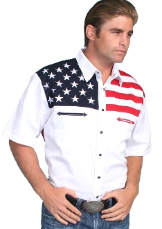 This Scully mens stars and stripes short sleeve flag shirt is a fashionable way to show your patriotic pride. Mens western flair short sleeve shirt is made of 100% cotton with pearl snaps.