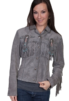 "This Ladies"" Fawn"" Grey boar suede western jacket by Scully has beads, studs, and conchos, this western jacket has style. Made from boar suede with fringe on the front, back and closes with a 5-button front"