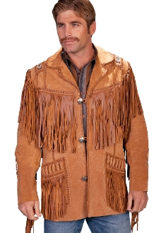 This Scully Mens Rust bourbon boar suede Native fringe western jacket has hand laced beaded trim. A Leather coat with leather fringe trim on front and back yokes, leather fringe trim on shoulders and front pockets