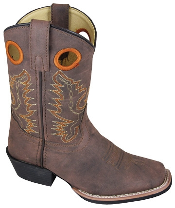 """Memphis Brown"" Kids square toe brown cowboy boots, KIDS square toe brown cowboy boots"