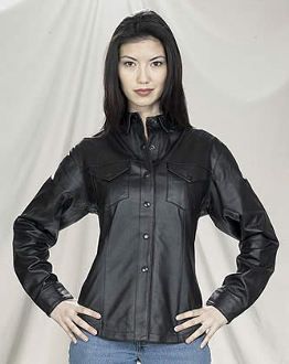 This Womens Black Concealed Carry Snap Western Shirt is economically made from leather like material to give you that stylish look without the high cost.