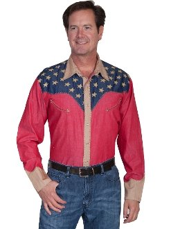 Scully mens American flag long western shirt, american flag shirt, usa flag shirt, mens flag shirt, mens western shirt, mens america shirt, mens stars and stripes shirt, skully american flag shirt, 4th of july shirt, flag shirt for men