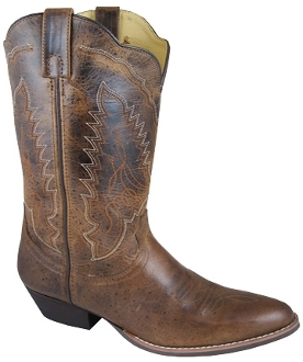 """Brown Amelia"" Womens Distressed Brown cowboy boots REG, WIDE"