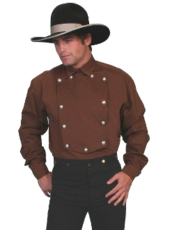 Mens Scully Wahmaker Brown Cavalry Bib Shirt Usa Big N Tall