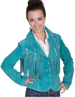 Ladies Waist length Turquoise suede fringe western jacket by Scully