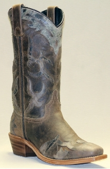 Womens Gray and Brown Leather Cowboy Boots - USA made