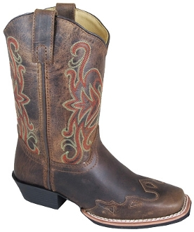 """Rialto"" Youth Brown Wing Tip Square Toe Cowboy Boots"