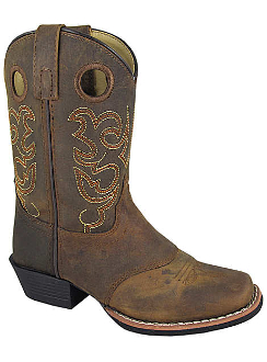 """Brown Sedona"" Youth leather square toe cowboy boots"
