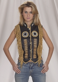 Native Style Black fringe buffalo bone vest