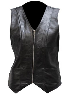 Womens Smooth Zippered Black Leather Vest