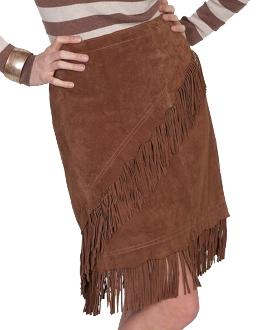 Womens Brown Suede Diaganol Fringe Short Western Skirt