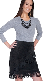 Womens Black Suede Diaganol Fringe Short Western Skirt