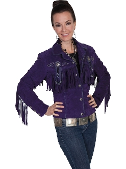 "This Ladies"" Fawn"" Purple boar suede western jacket by Scully has beads, studs, and conchos, this western jacket has style. Made from boar suede with fringe on the front, back and closes with a 5-button front"
