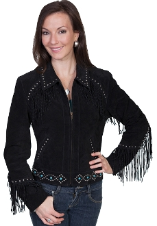 """Miss Kate"" Scully womens black finge jacket, suede western jacket, ladies scully jacket, suede scully jacket for ladies, womens western jacket, scully fringe jacket, suede scully jacket for ladies, womens western jacket, scully jacket"