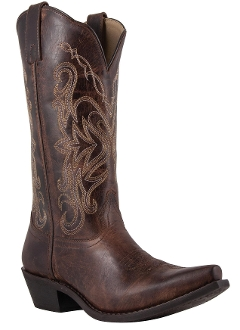 """Brown Madison"" Womens Snip toe Red cowboy boots"