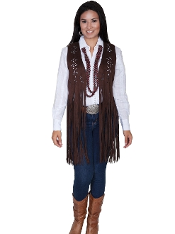 Womens Scully Chocolate 3/4 Length Long Fringe Western Vest, suede western jacket, western ladies vest, suede scully vest for ladies, womens western jacket, scully vest