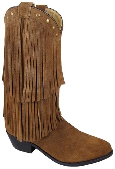 """Wisteria"" Womens Brown Double Fringe Cowboy Boots"