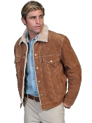 This Scully Mens Tan Suede Fur Collar Western Jacket is a great looking on the range functional jacket. The entire inside is lined with a faux shearling or sheepskin so soft to the touch.