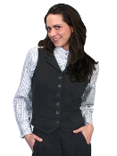 Womens Scully USA Made Black Victorian vest, scully western vest, scully vest, 1800's womens vest, womens 1800's western vest, 1800's vest for women