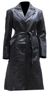 Womens long black leather Coat, full length leather coat for women